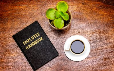 An employee handbook on a desk next to a plant and cup of coffee