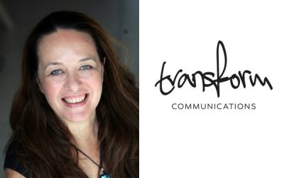 A woman's headshot next to the Transform Communications logo