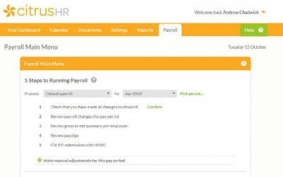 A screenshot of the citrusHR payroll software