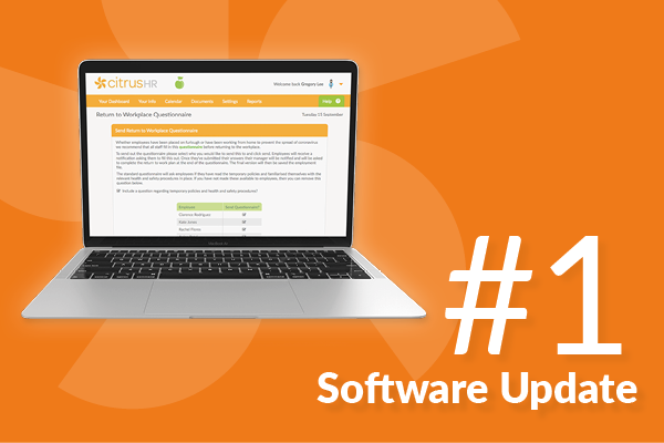 #1 Our very first software update blog (coronavirus return to work form and more!)