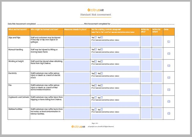 Health Safety Risk Assessment Page Free Risk Assessment Template