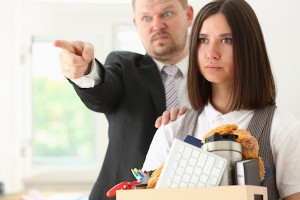 Angry yelling boss point arm to exit dismissing sad worker with stuff box portrait. Bad news, pack and carry belongings hopeless, human resources, staff reduction, hr get upset, give sack concept